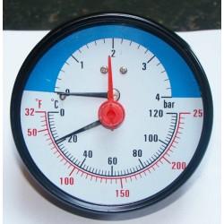 Thermo-Manométer 0-120 °C alsó csatlakozással